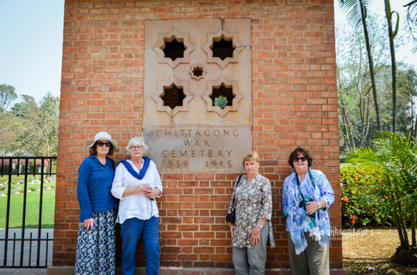 Susan Bicknell with the fellow travelers at Commonwealth War Graves Commission Cemetery in Chittagong