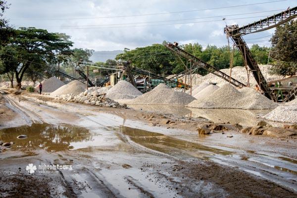 Stone crushing yards in Jaflong