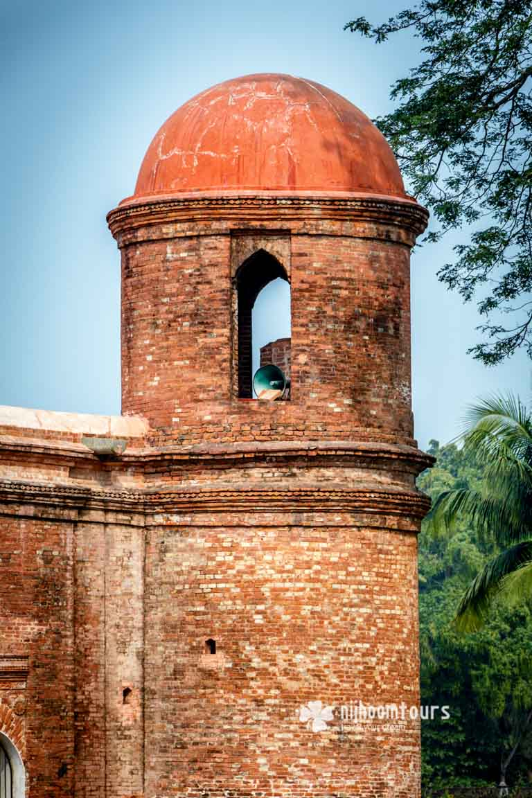 A corner tower of the Sixty Dome Mosque at Bagerhat