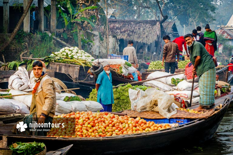 A floating vegetable market at Barisal in Bangladesh - Number nine among the best places to visit in Bangladesh