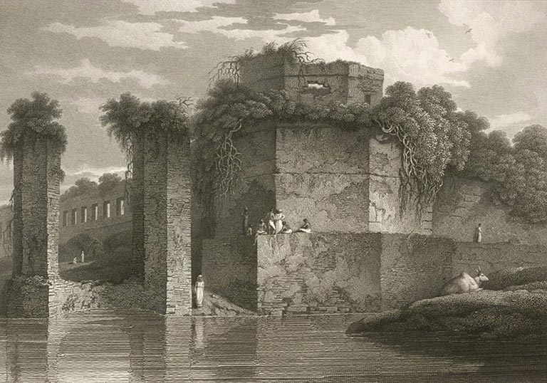 A painting of Lalbagh Fort by Charles D'Oyly in 1814