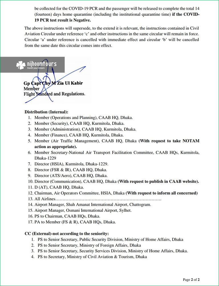 Covid-19 notice from Bangladesh Civil Aviation Authority on March 31, 2021