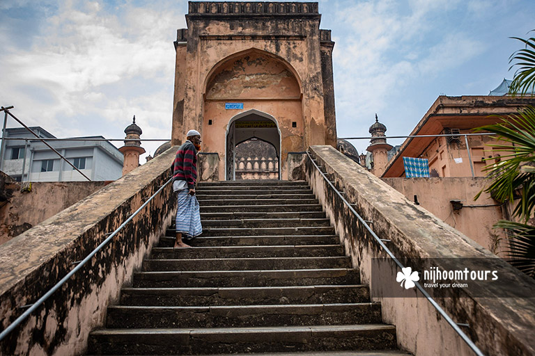 The stairs of Khan Mohammad Mridha Mosque we'll visit in Old Dhaka Tour