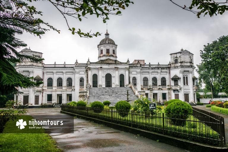 A front view of Tajhat Palace (Jamidar Bari) in Rangpur