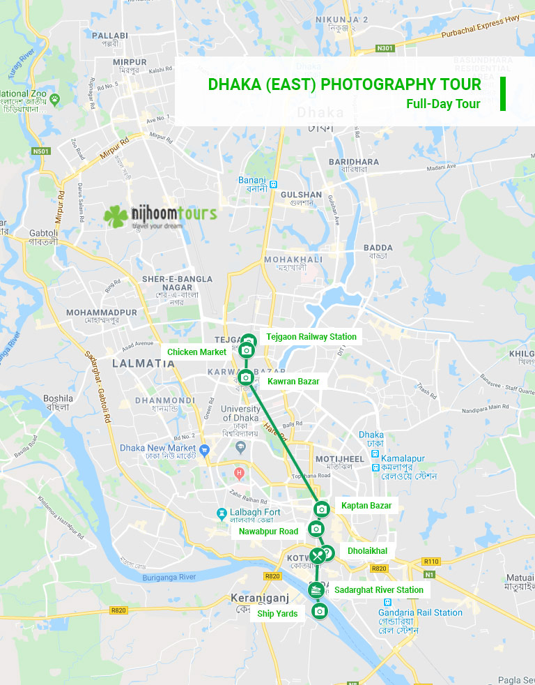 Tour map of Dhaka (East) Photography tour