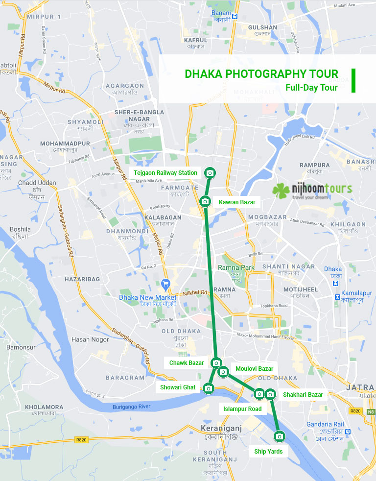Map of full-day Dhaka Photography Tour with Nijhoom Tours