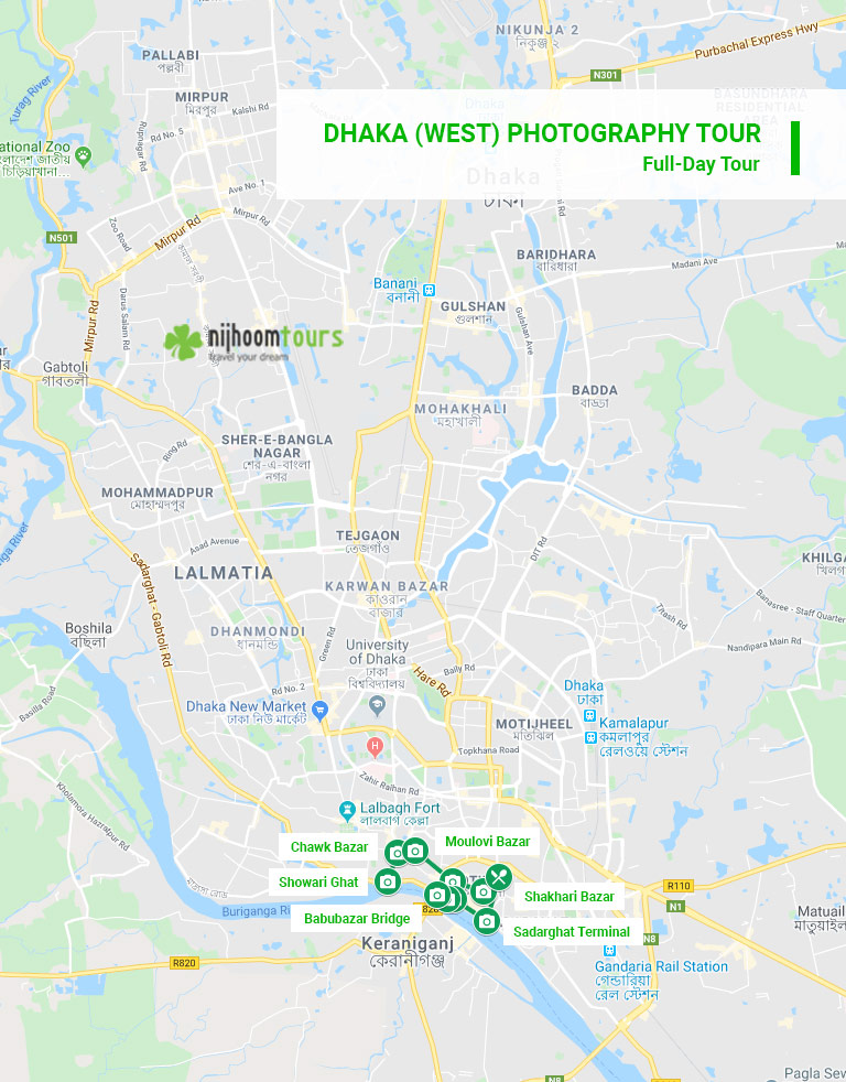 Tour map of Dhaka (West) Photography tour