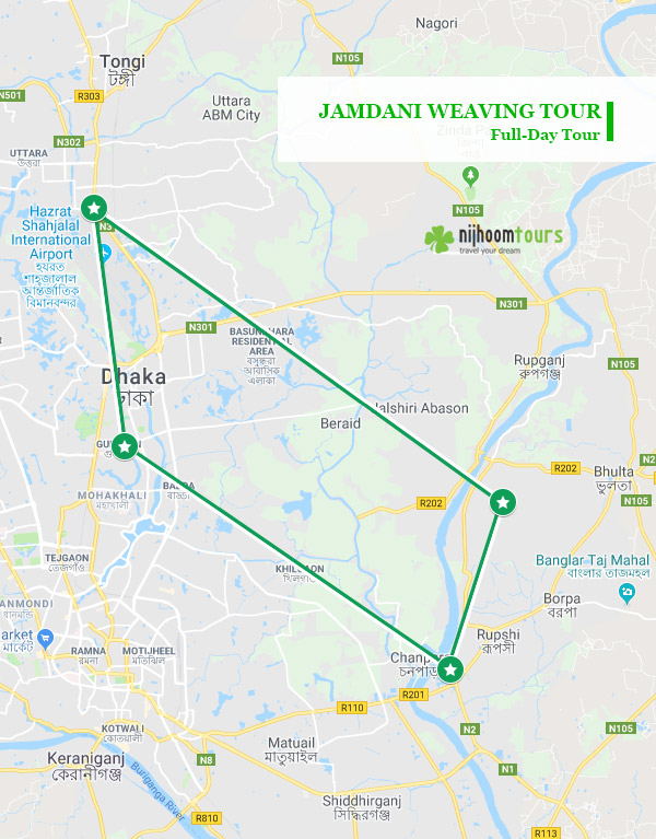 Tour map of Jamdani Weaving Tour
