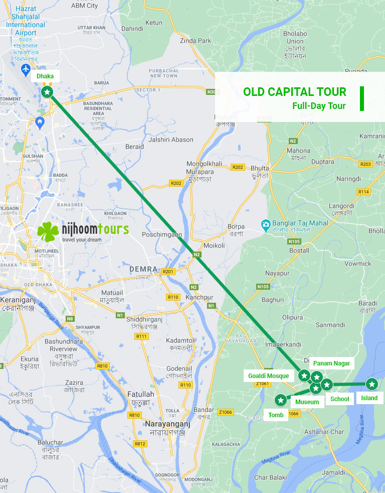 Map of full day Sonargaon & Panam City Tour to Bangladesh Old Capital with Nijhoom Tours