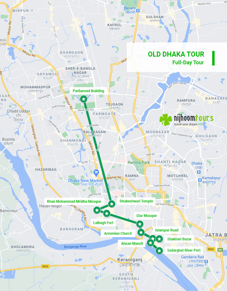 A map of Dhaka Tour (Full Day) - New & Old Dhaka City Highlights with Nijhoom Tours