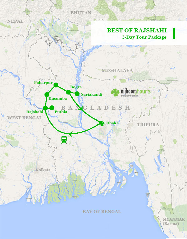 Tour map of Best of Rajshahi
