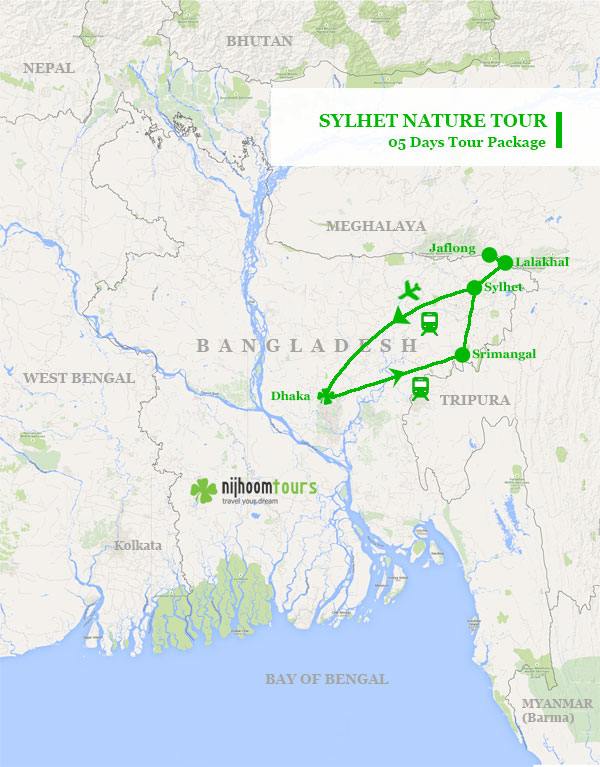 Tour map of Sylhet Nature Tour