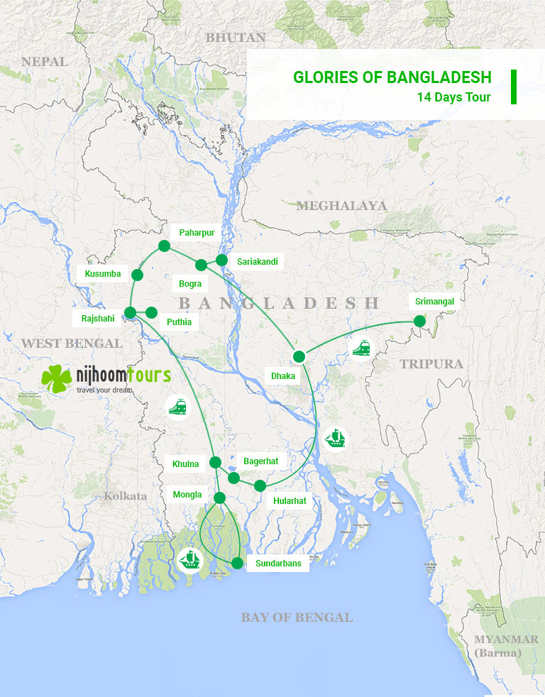 A map of 18 days Glories of Bangladesh Tour with Nijhoom Tours to visit the the most glorious sights and attractions